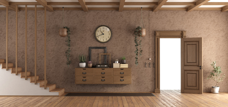 Retro home entrace with staircase,sideboard and open door - 3d rendering Stockfoto