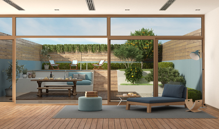 modern living room with sofa with old wooden table set in the garden - 3d rendering Imagens