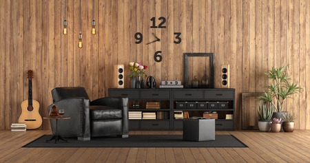 Living room in rustc style with audio equipment, black furniture and guitar on wooden wall - 3d rendering Imagens