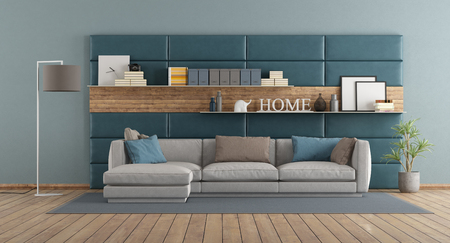 Modern living room with sofa against leather and wooden paneling - 3d rendering Banque d'images - 121499207