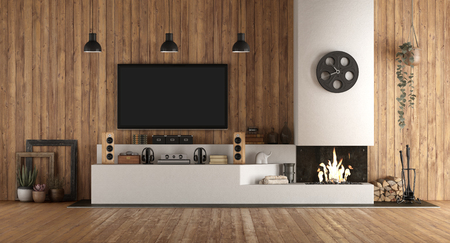 Home cinema in rustic stryle with fireplace and wooden paneling - 3d rendering Banque d'images - 121499210