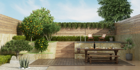 Garden on two levels with old dininig table, wooden bench and small pool on backgrround - 3d rendering