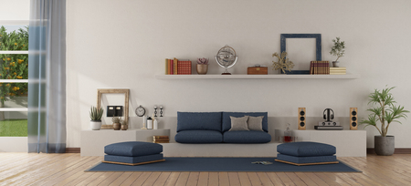 Modern white and blue living room with sofa with sofa on a white masonry structure - 3d rendering Banque d'images - 121499224