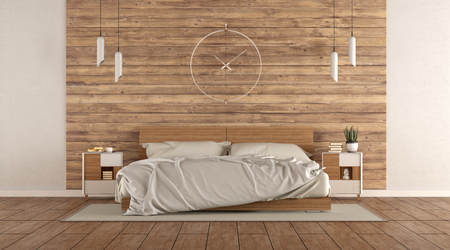 Minimalist master bedroom with double bed agaist wooden wall - 3d rendering
