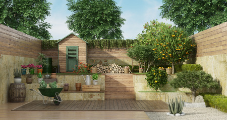 Garden with gardening tools , wooden shed and fruit tree - 3D Rendering Banque d'images - 121499227