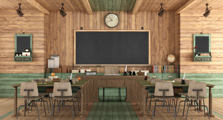 Wooden classroom in retro style with school desk without student - 3d rendering Imagens