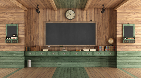 Empty classroom in retro style with blackboard against wooden wall - rendering Banque d'images - 121499229