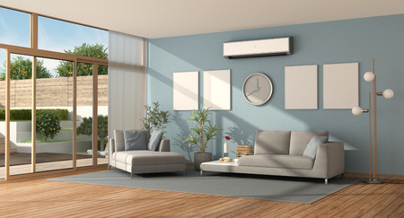 Blue living room of a modern villa with sofa ,chaise lounge and air conditioner - 3d rendering Imagens