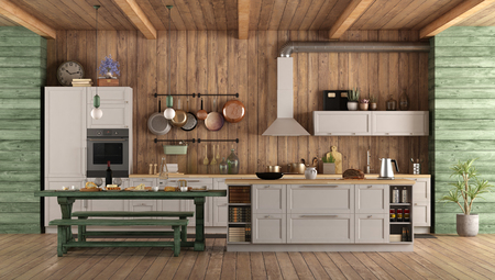 White and green retro kitchen with island,dining table and bench - 3d rendering Imagens