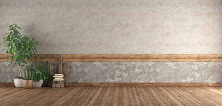Empty room with hardwood floor , old wall and plants - 3d rendering Banque d'images - 121499232