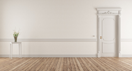 Soggiorno bianco in stile classico con porta chiusa - rendering 3d