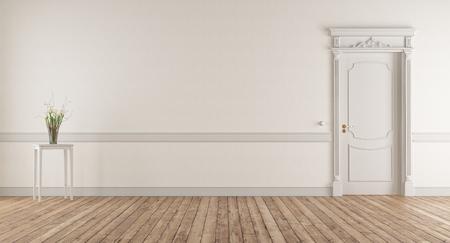 Weißes Wohnzimmer im klassischen Stil mit geschlossener Tür - 3D-Rendering
