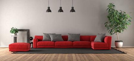 Modern living room with red sofa on black carpet - 3d rendering Banque d'images - 121499234