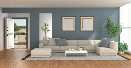 Modern living room with open entrance door with garden on background - 3d rendering Banque d'images - 121499235