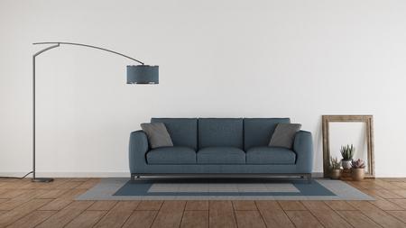 Sofá azul en una sala de estar minimalista contra la pared blanca - representación 3d