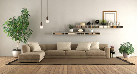 Modern living room with sofa and shelves on white wall - 3d rendering Banque d'images - 121499237