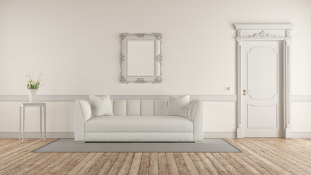 White living room in classic style with elegant sofa and closed door - 3d rendering Banque d'images - 121499239