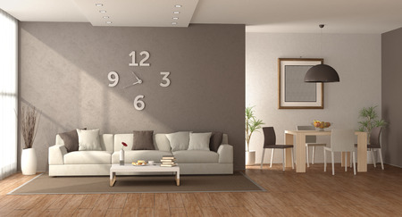 Modern iving room with sofa and wooden dining table with chair - 3d rendering Banque d'images - 121499240