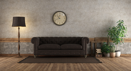 Retro living room with leather sofa against old wall - 3d rendering