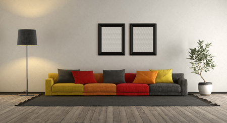 Colorful sofa in a modern living room - 3d rendering