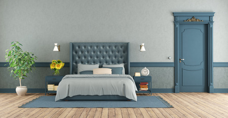 Blue master bedroom in retro style with double bed and closed door - 3d rendering Banque d'images - 121499253