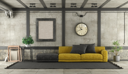 Black and yellow sofa in loft with concrete wall and iron elements - 3d rendering Banque d'images - 121499260