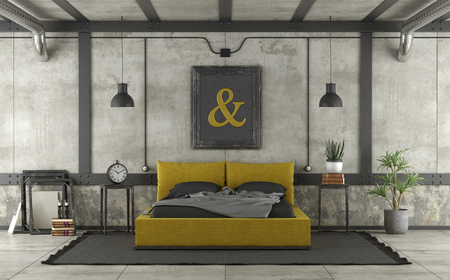 Black and yellow double bed in loft with concrete wall and iron elements - 3d rendering Banque d'images - 121499265