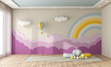 Empty playroom with decoration on background wall in pastel colors- 3d rendering Imagens