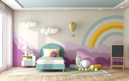 Child bedroom with single bed and decoration on background wall in pastel colors- 3d rendering