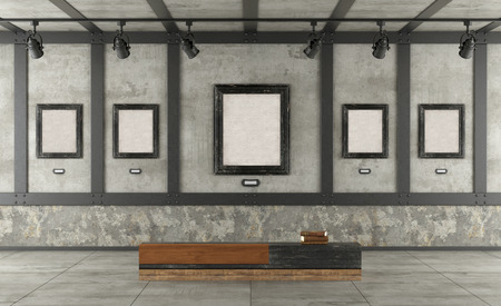 Art gallery in loft with concrete wall, iron elements,black frame and wooden bench- 3d rendering Imagens