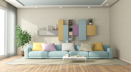 Modern living room in pastel colors with sofa and bookcase on background - 3d rendering Banque d'images - 121499271