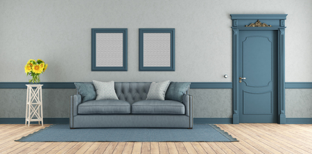Blue elegant living room with classic sofa and closed door - 3d rendering Banque d'images - 122120445