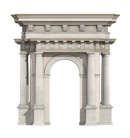Portal in neoclassical style isolated on white with arch and doric column - 3d rendering Banque d'images - 122120456