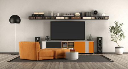 Modern living room with home cinema equipment.orange armchair and sideboard - 3d rendering