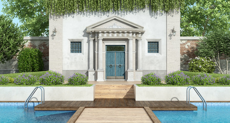 Fron view of a classic villa with luxury garden with large swimming pool - 3d rendering Banque d'images - 122120459