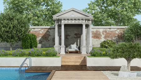 Luxury garden with deck chair under a little neoclassical temple and swimming pool - 3d rendering Banque d'images - 122120462