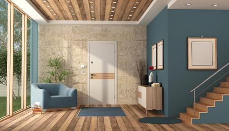 Ingresso di una villa contemporanea con porta d'ingresso, mobili moderni e scala in legno - rendering 3d