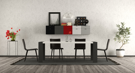 Modern dining room with minimalist table ,chair and sideboard on wall - 3d rendering