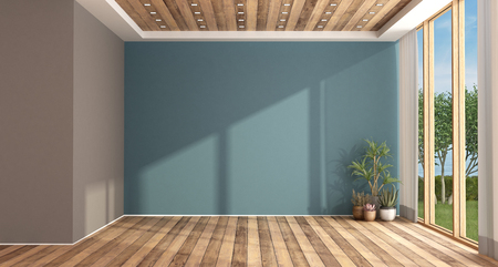 Empty blue living room with large window and hardwood floor - 3d rendering Imagens