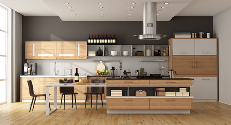 Contemporary kitchen with island,dining table and chair - 3d rendering