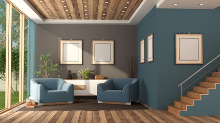 Blue modern living room with staircase,armchairs and sideboard - 3d rendering Banque d'images - 122496726