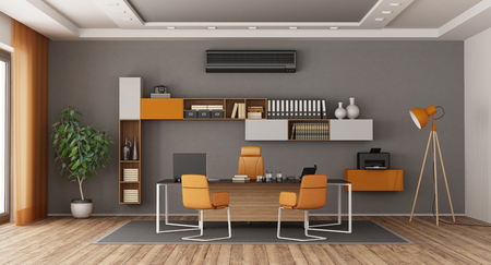 Gray and orange modern office with desk,office chairs , bookcase and air conditioner - 3d rendering