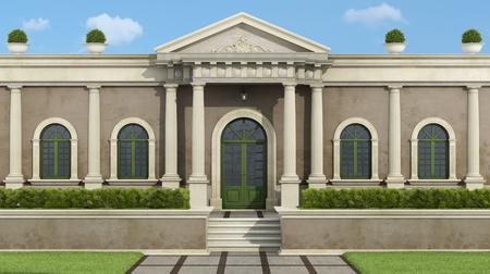 Facade with neoclassical villa with luxury garden garden - 3d rendering Imagens