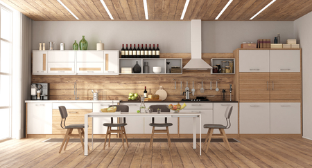 Modern white and wooden kitchen with dining table on hardwood floor - 3d rendering Banque d'images - 122496736