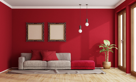 Red living room with modern sofa and old frame on wall - 3d rendering Banque d'images - 122496739