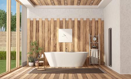Modern bathroom of a villa with bathtub - 3d rendering Banque d'images - 122496740