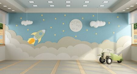 Playroom without furniture with decoration on backgroun wall and toy plane - 3d rendering