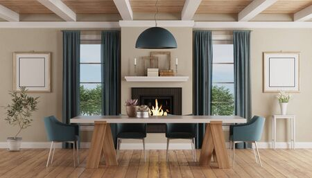 Modern dining table chairs in a claasic home interior with fireplace - 3d rendering