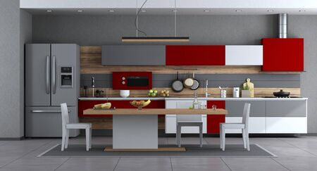 Red ,white and gray modern kitchen with minimalist dining table and chairs - 3d rendering 스톡 콘텐츠