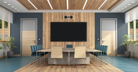 Elegant boardroom with large meeting table,two doors and flat screen on background - 3d rendering Foto de archivo - 129167320